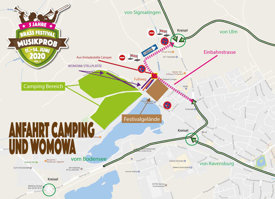 Anfahrt zum Camping Gelände Musikprob Brassfestival 2019
