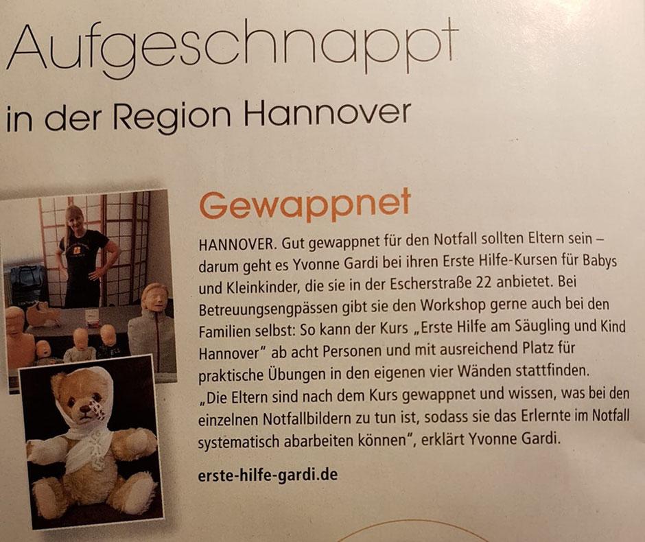 Erste Hilfe am Säugling und Kind bei Ihnen zu Hause in (Region) Hannover