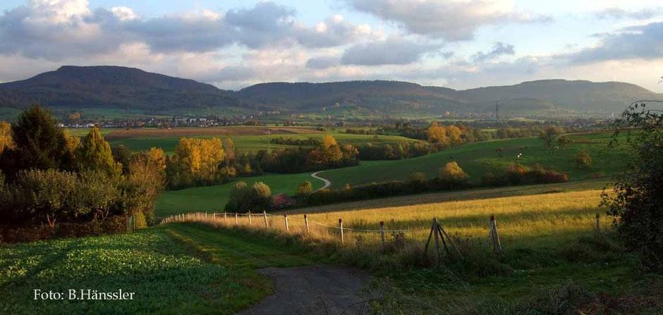 Blick über das Voralbgebiet auf Eschenbach, Heiningen und auf die Alb