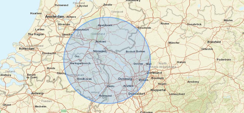 Karte Niederrhein und Niederlande mit einem Radius um Kleve von ca. 70 Km Arbeitsbereich.