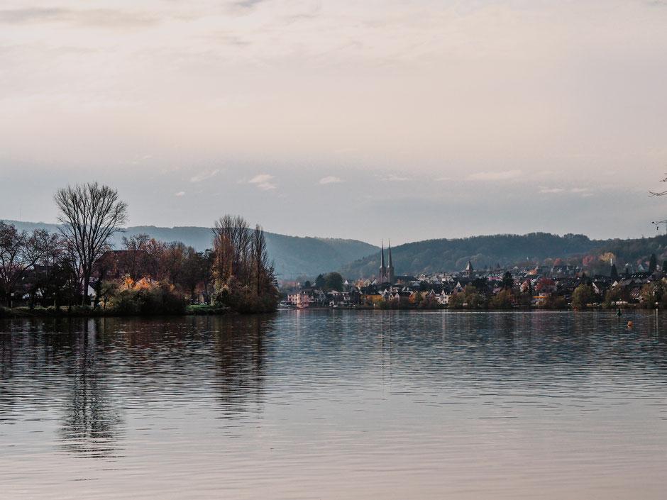 Vom Moselufer am Fährhaus auf das Weindörfchen Koblenz-Güls blicken