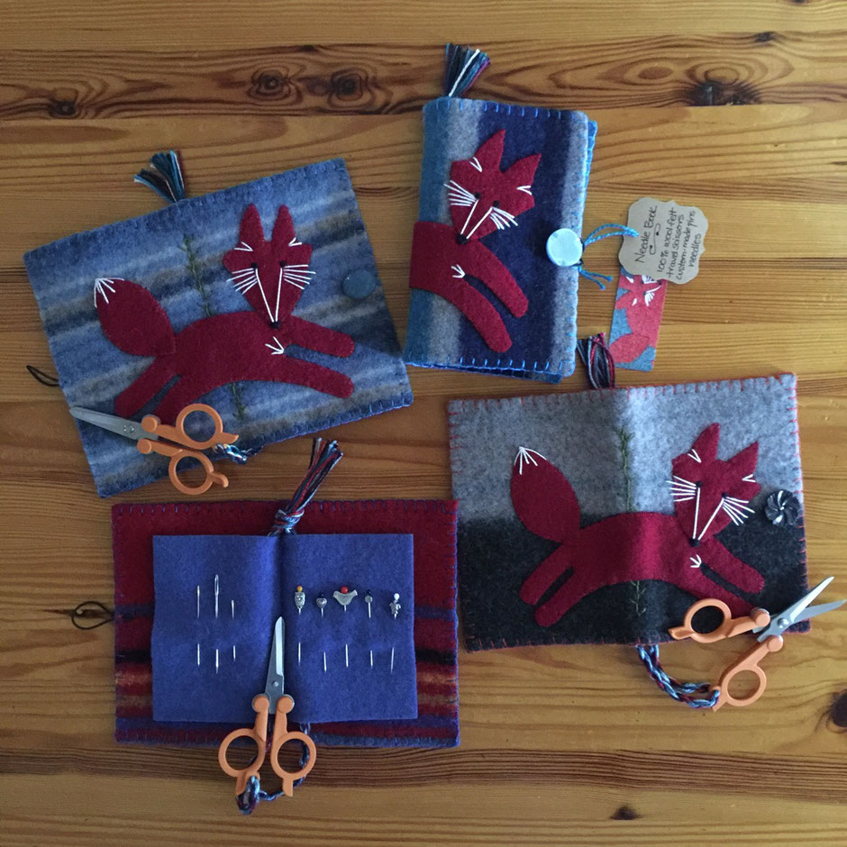 Fox Needle Books - embroidered wool with Fiskars travel scissors, pins and needles