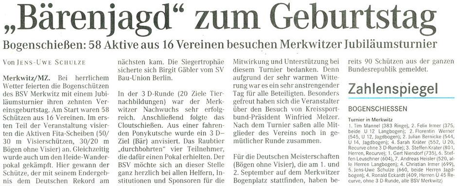 Artikel - 10 Jahre Jubiläum - BSV Merkwitz