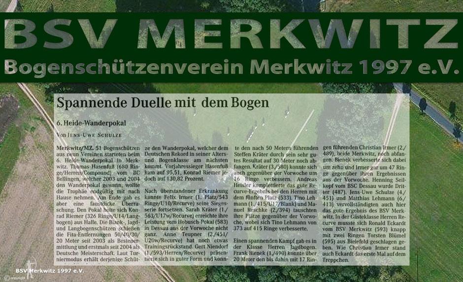 Fotocollage - Artikel - 6. Heidewanderpokal in Merkwitz 2005