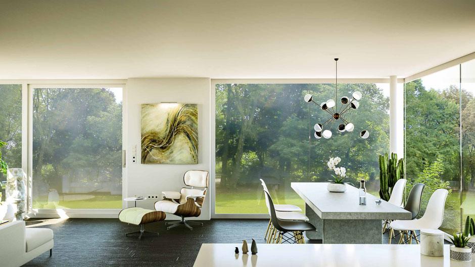 Innenraumvisualisierung  luxuriöser Wohn-Essbereich,  Vitra Lounge Chair