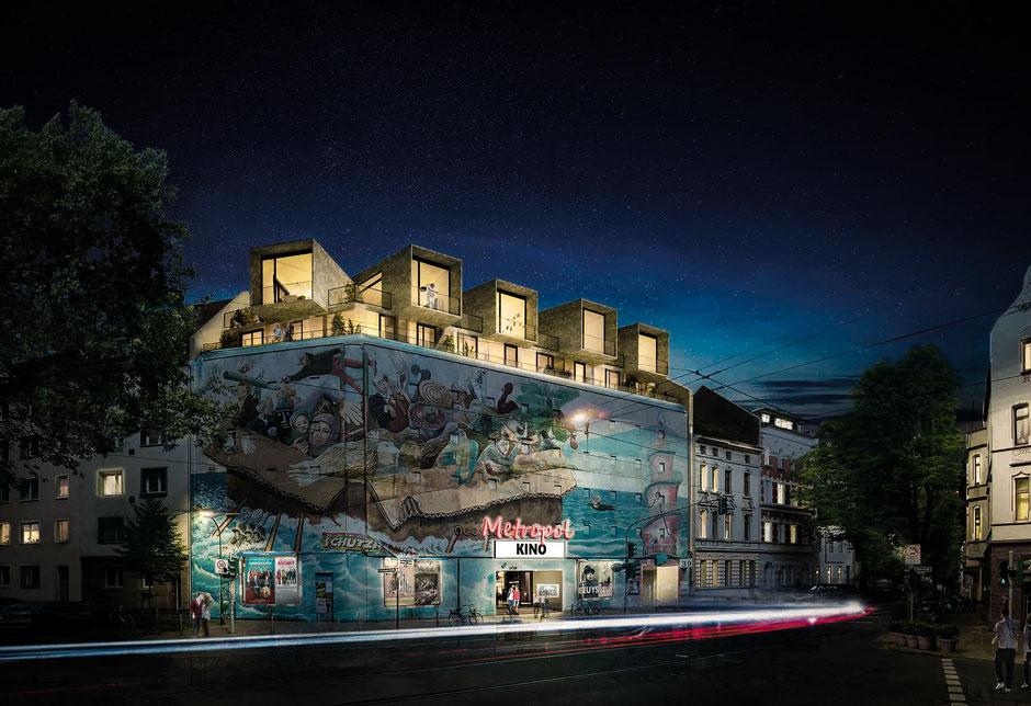 3D-Visualisierung Entwurf Bilker Bunker bei Nacht