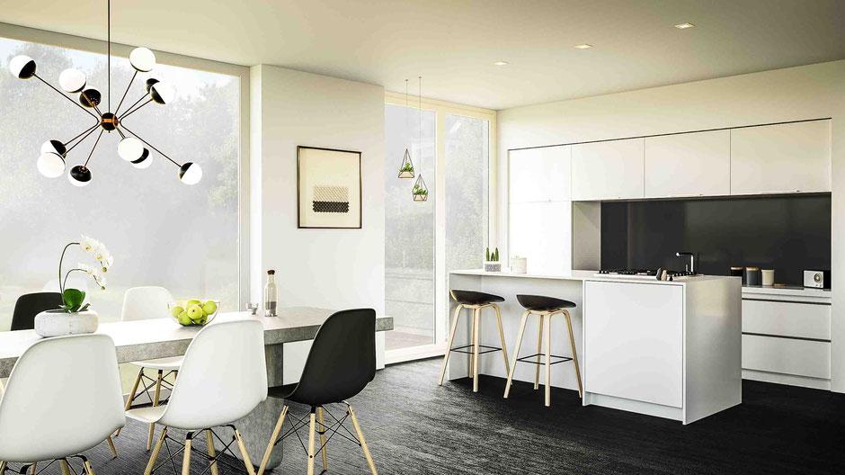 Innenraumvisualisierung: edle Wohnküche, schwarz-weiß