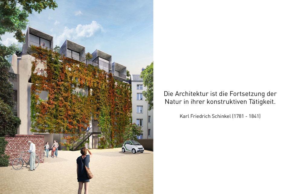 Visualisierung Innenhof Bilker bunker, Urban Gardenin, Fassadenbegrünung