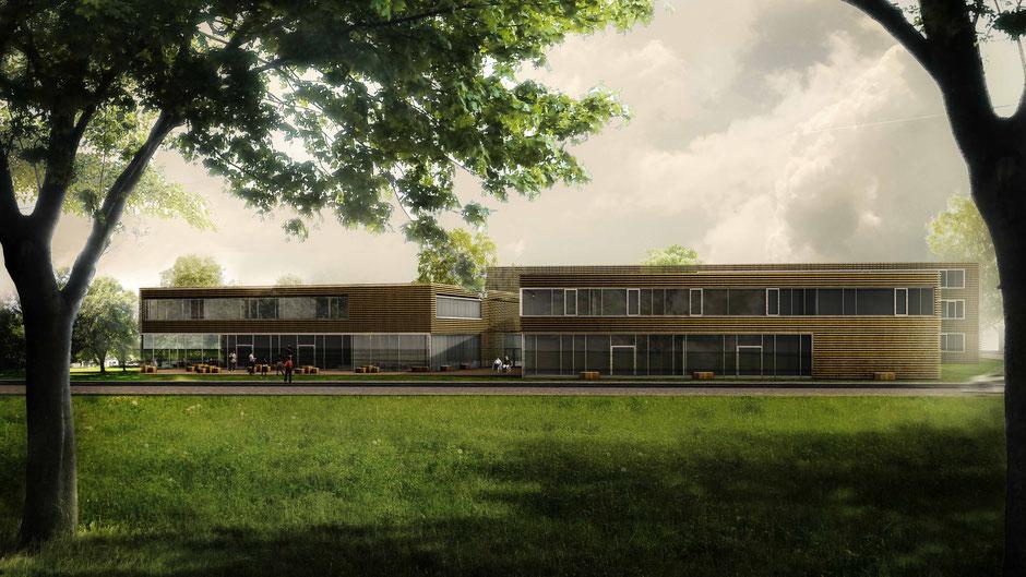 Außenraumvisualisierung Architekturwettbewerb, Holzfassade