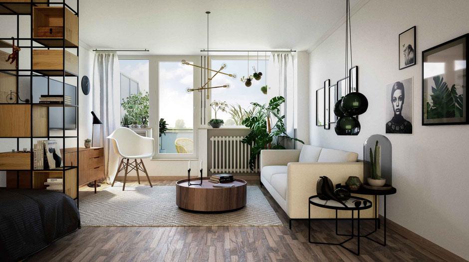 Innenraumvisualisierung: Wohn-Schlafbereich
