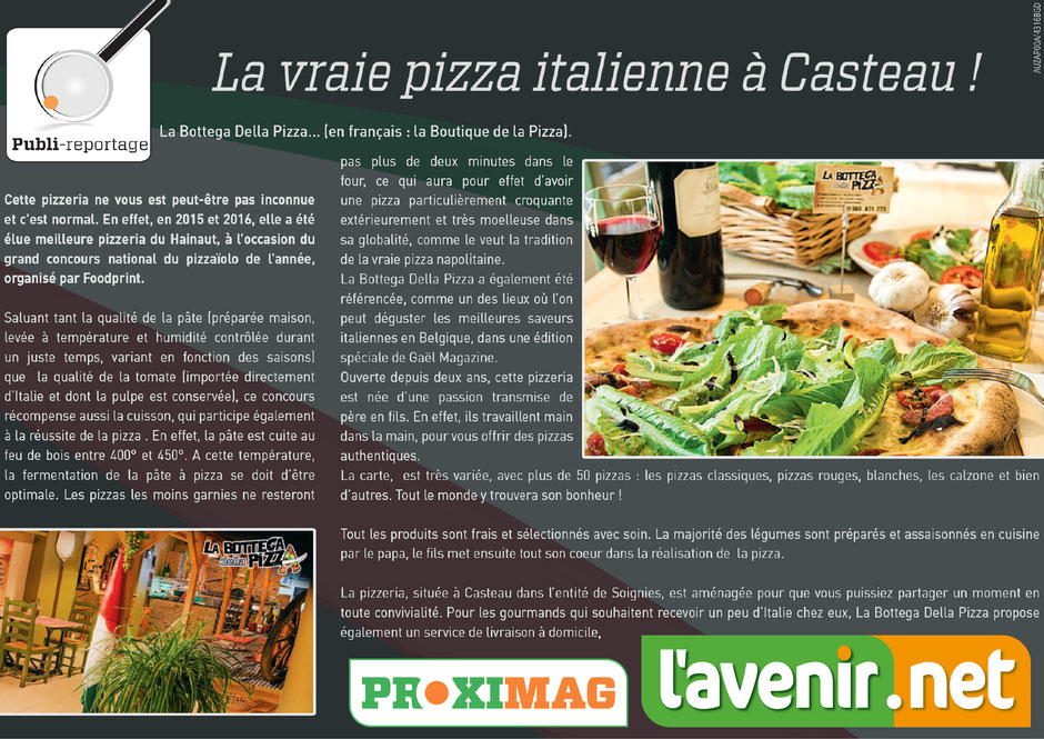 la vraie pizza italienne à Casteau, à la bottega della pizza, proxymag, l'avenir.net, les meilleures pizza de la région