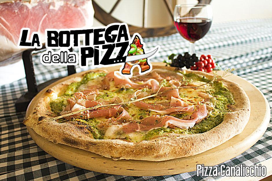 la bottega della pizza, pizza verte, pizza verde, al pistacchio di bronte dop, avec jambon de san daniel dop 24 mois, à Casteau, Soignies, Hainaut, Belgique