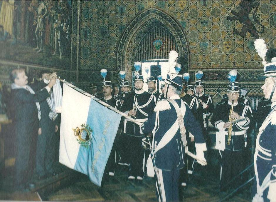 MEDAGLIA D'ARGENTO ALLA BANDIERA DEL CORPO DELLA COMPAGNIA DELLE MILIZIE RICEVUTA NEL 150° DELLA BANDA MILITARE