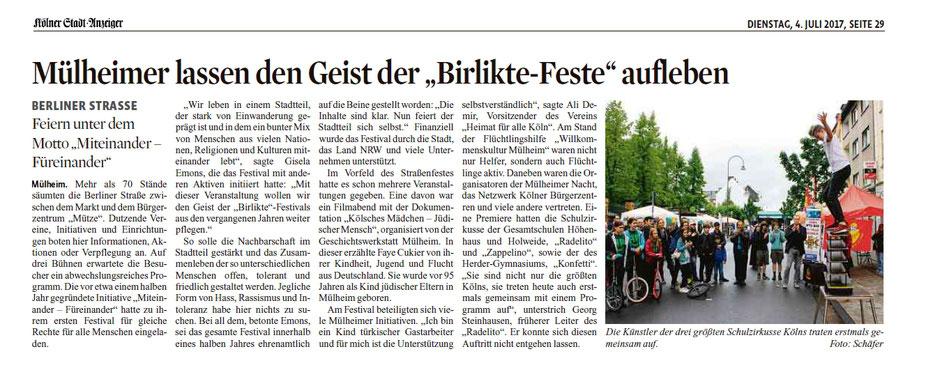 Kölner Stadtanzeiger vom 4. Juli 2017