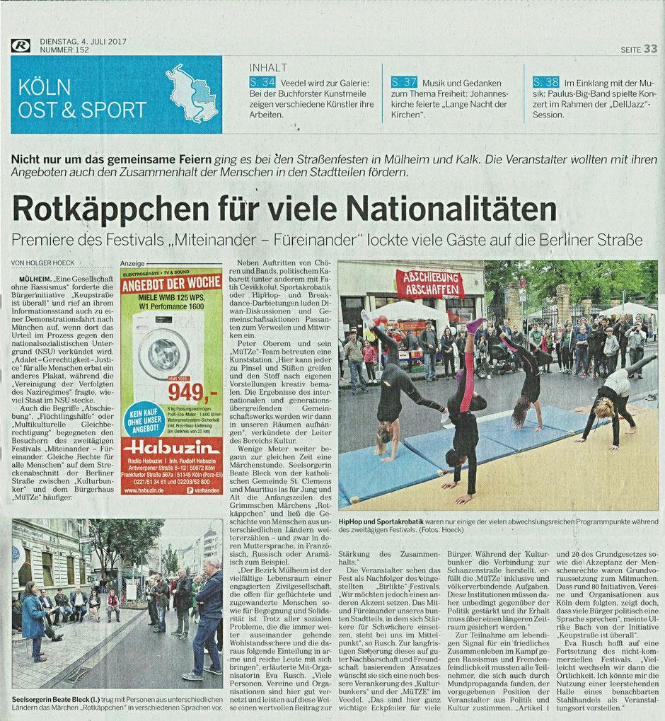 Kölnische Rundschau vom 4. Juli 2017