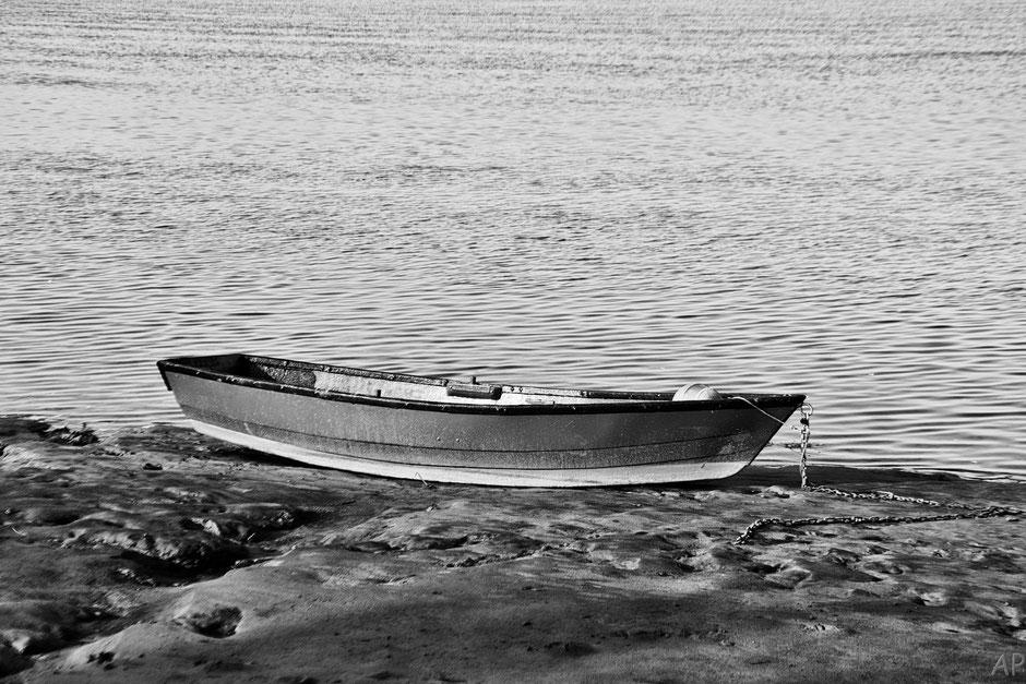 Baie de Somme mer bateau noir & blanc