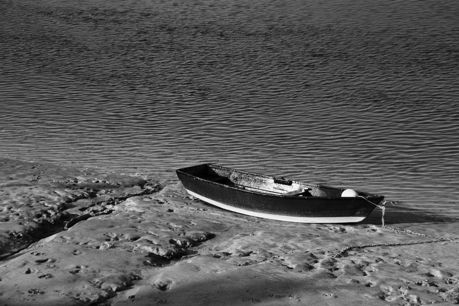 bateau Baie de Somme n&b mer rivage