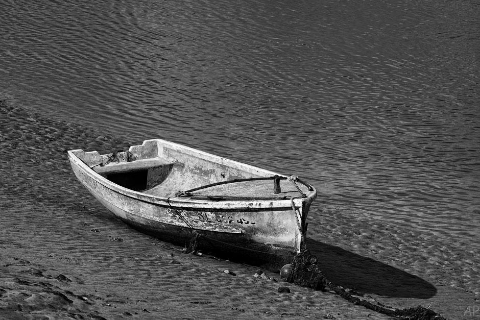 bateau Baie de Somme rivage noir&blanc