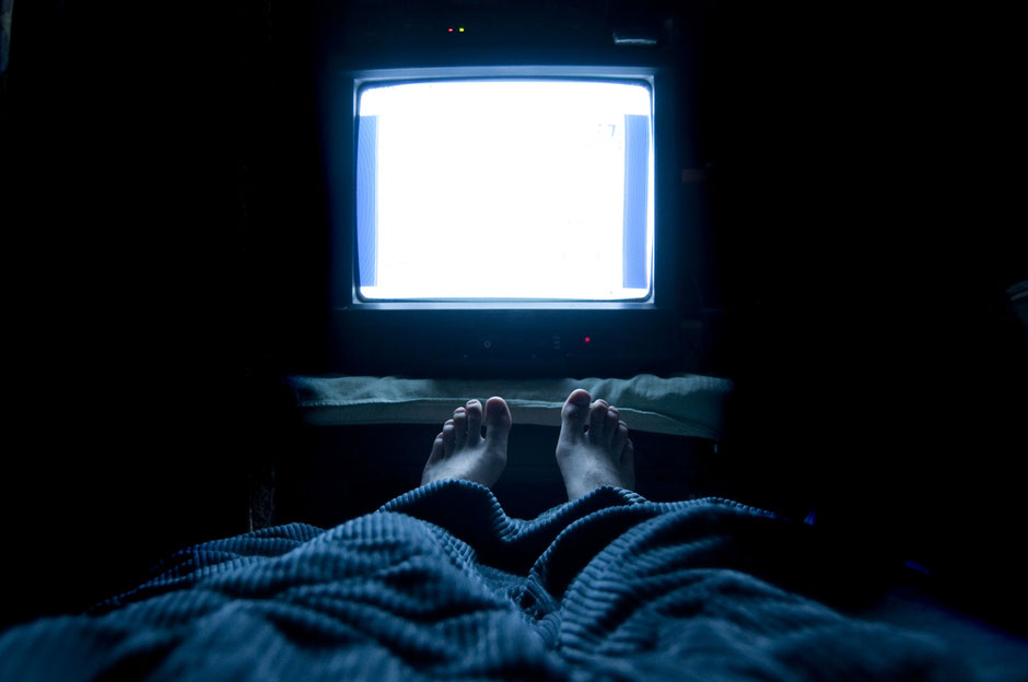 watching TV at night