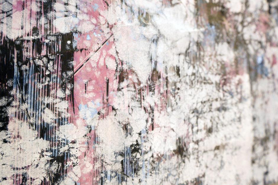 Katharina Lehmann, White Fog no.3, 109,5 x 56 cm / 43 x 22 in, 2019 · Acrylic, pencil on foil · closeup