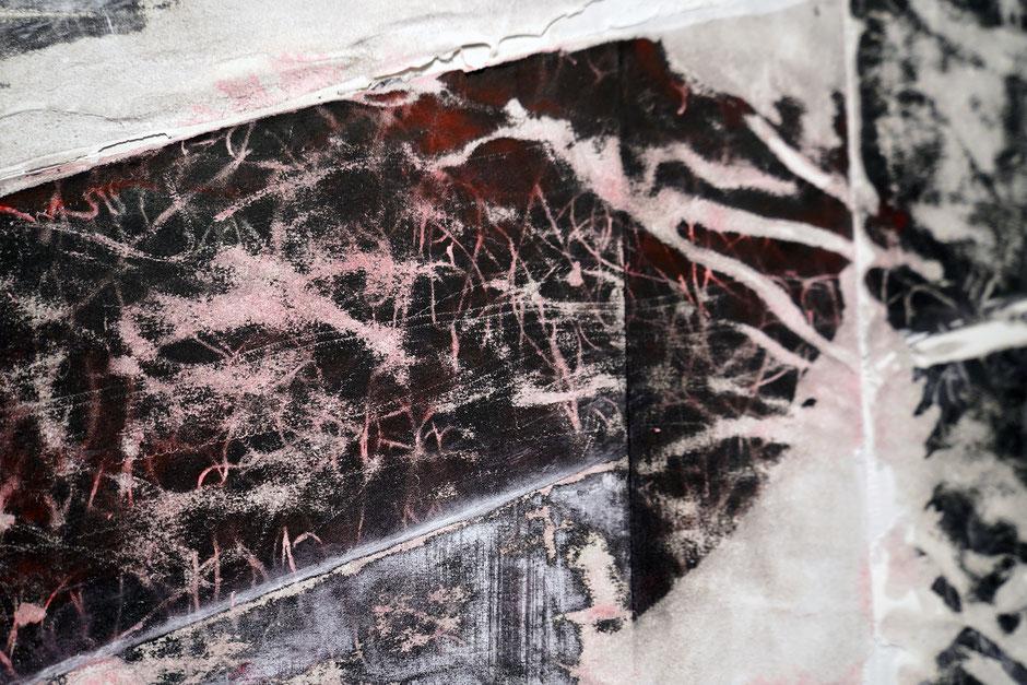 Katharina Lehmann, Layers, 120 x 120 cm, 2019 · Acrylic ink, paper on canvas · closeup
