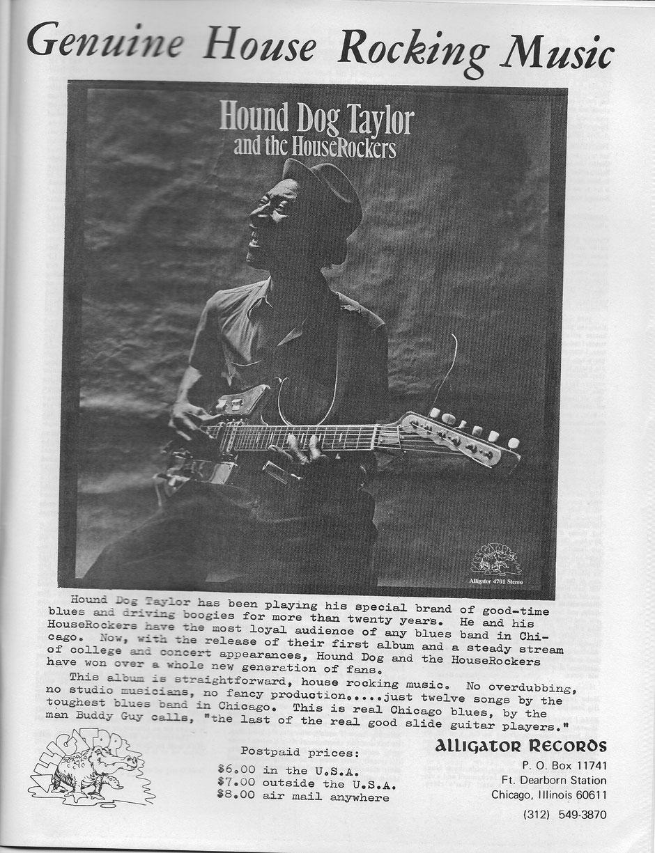 Première publicité Alligator dans Living Blues. Probablement de 1972. Collection André Fanelli.