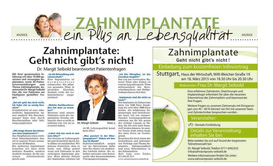 Aktuell in der Stuttgarter Wochenzeitung - Zum Vergrößern bitte anklicken!