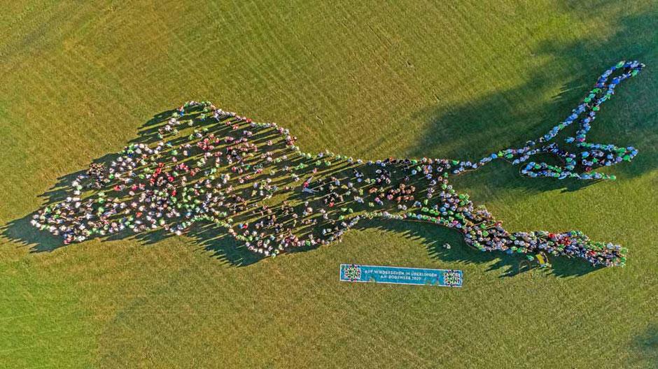 """Luftaufnahme mit Drohne vom """"Lebenden Bodensee"""" beim Überlingen-Tag der Landesgartenschau Lahr"""
