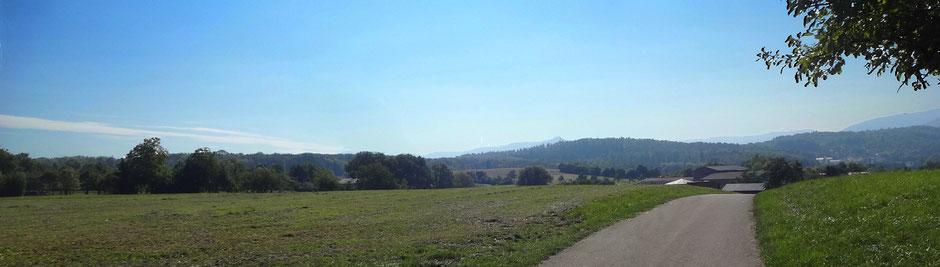 Kurz nach Großbettlingen mit Blick auf den am Horizont (etwas rechts von der Bildmitte) befindlichen Hohen Neuffen