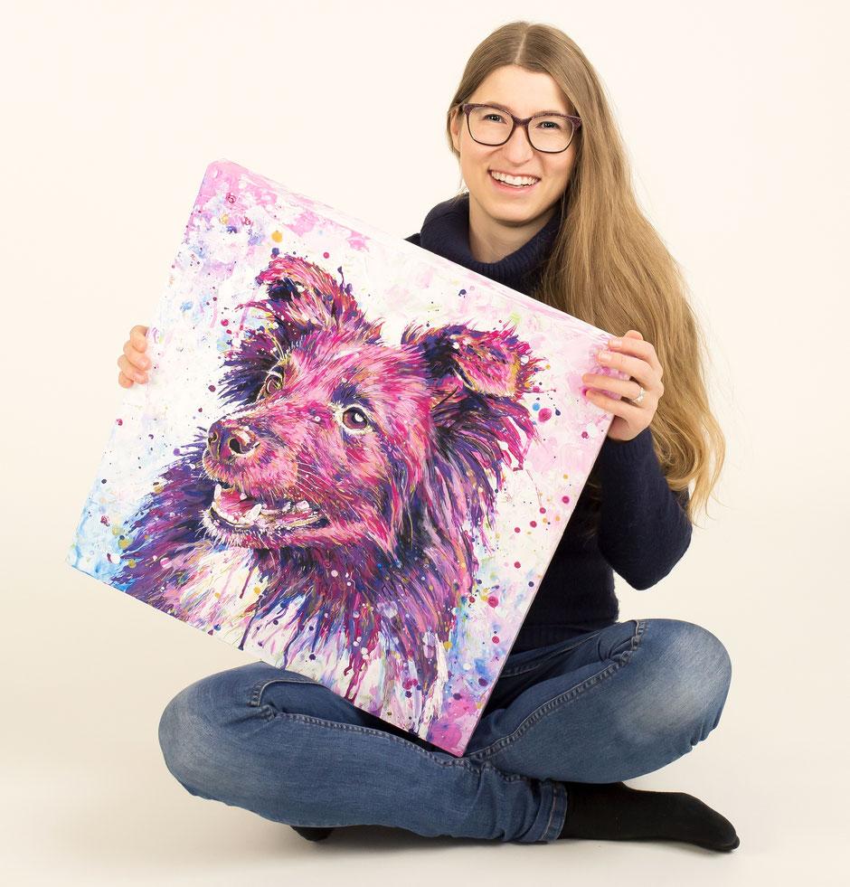 Collie Hündin Portrait auf Art Board gespachtelt mit Acrylfarben in pink und lila