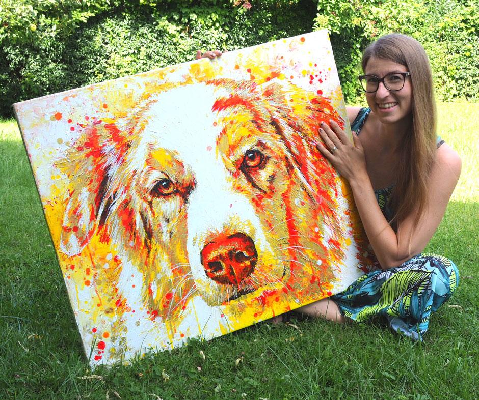 Berner Sennenhund Hundeportrait auf Keilrahmen rot gold gelb Maria Kley