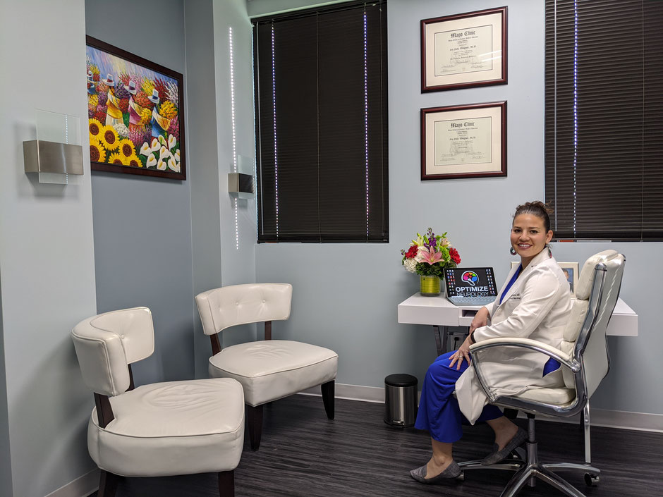 Neurologist Dr. Wingrove in her Austin, TX office