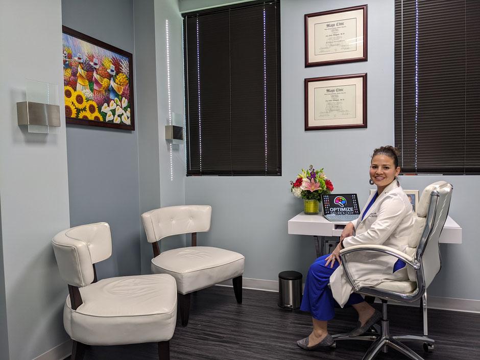 Neurologist Dr. Wingrove in her Austin, TX office