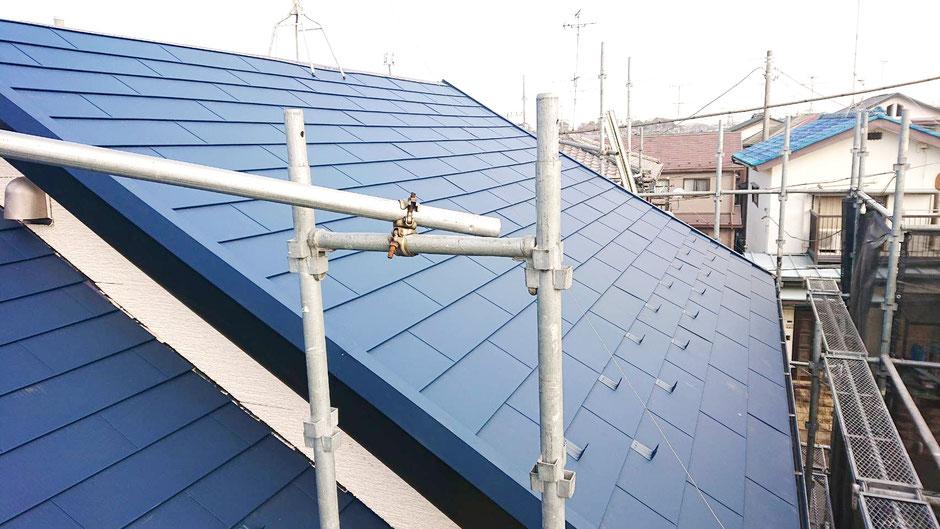 鎌ヶ谷市北初富の屋根カバー工法、外壁塗装工事後