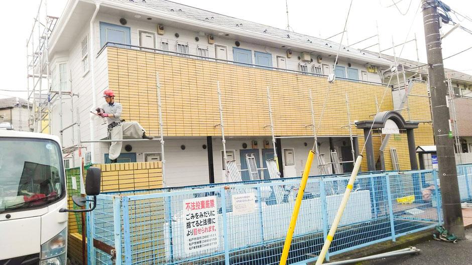 松戸市 アパート塗装 外壁