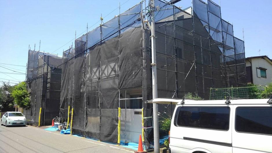 西千葉でアパートを外壁塗装中2