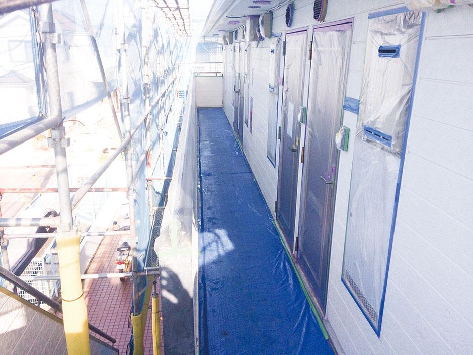 松戸市 アパート塗装 かべ