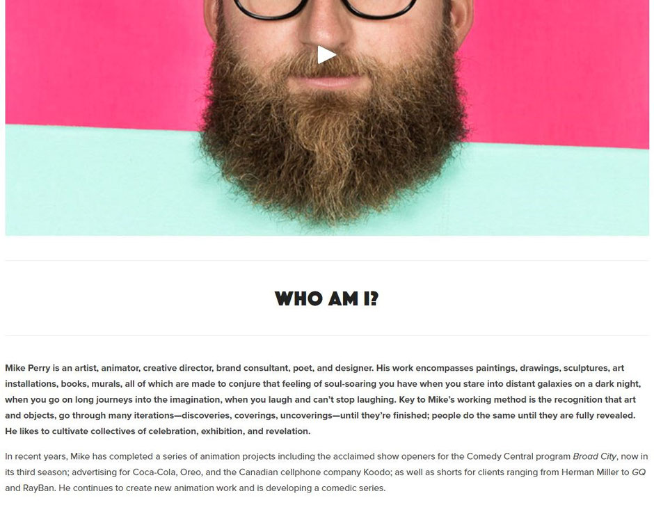 """Mike Perry's """"About Me"""" page"""
