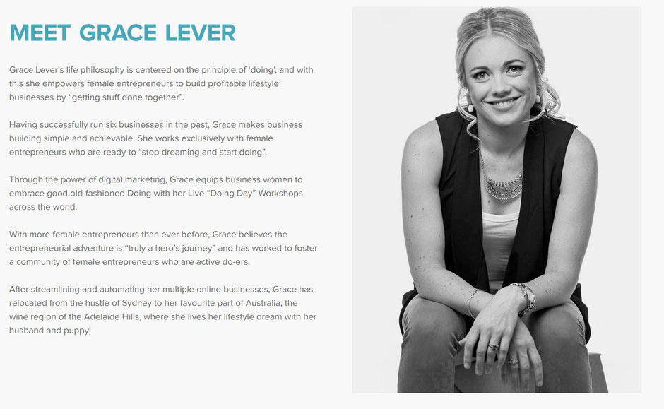 "Grace Lever's ""About Me"" page"