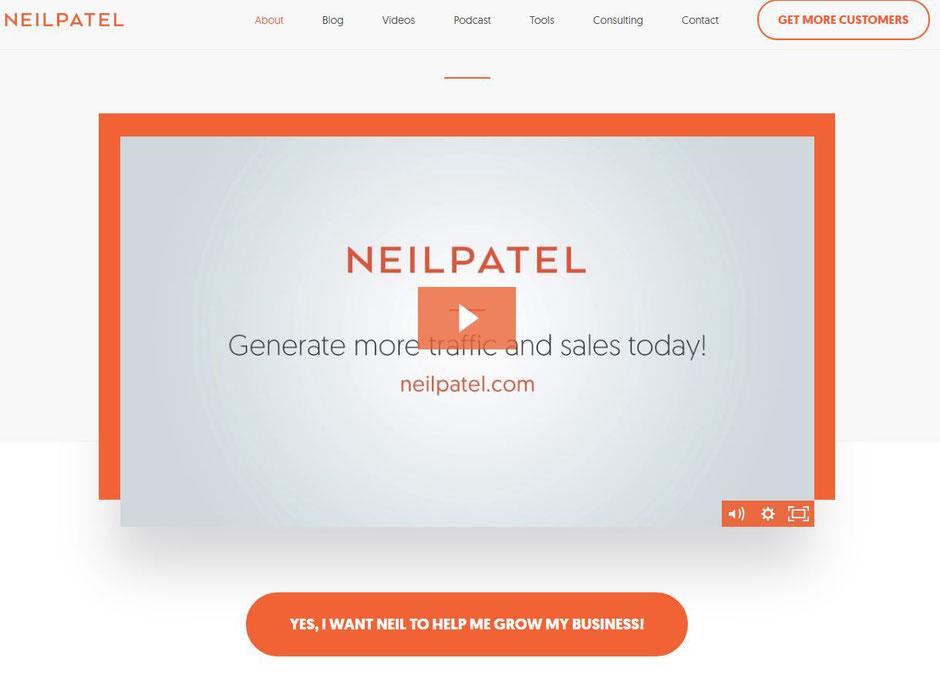 "Neil Patel""About Me"" page"