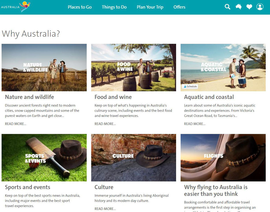 Screenshot: Tourism Australia website