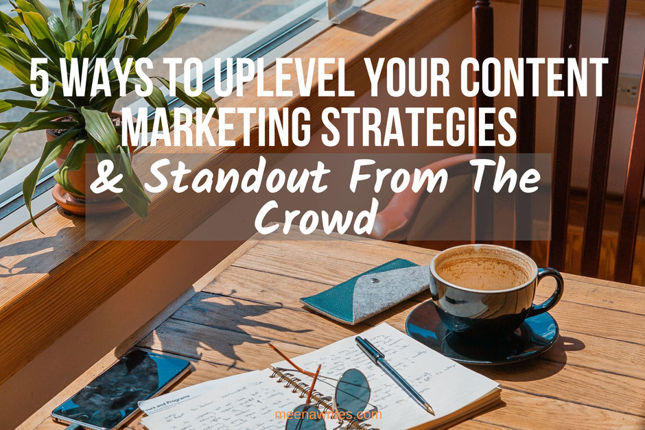 business woman pointing upwards to show 5 ways to uplevel content marketing