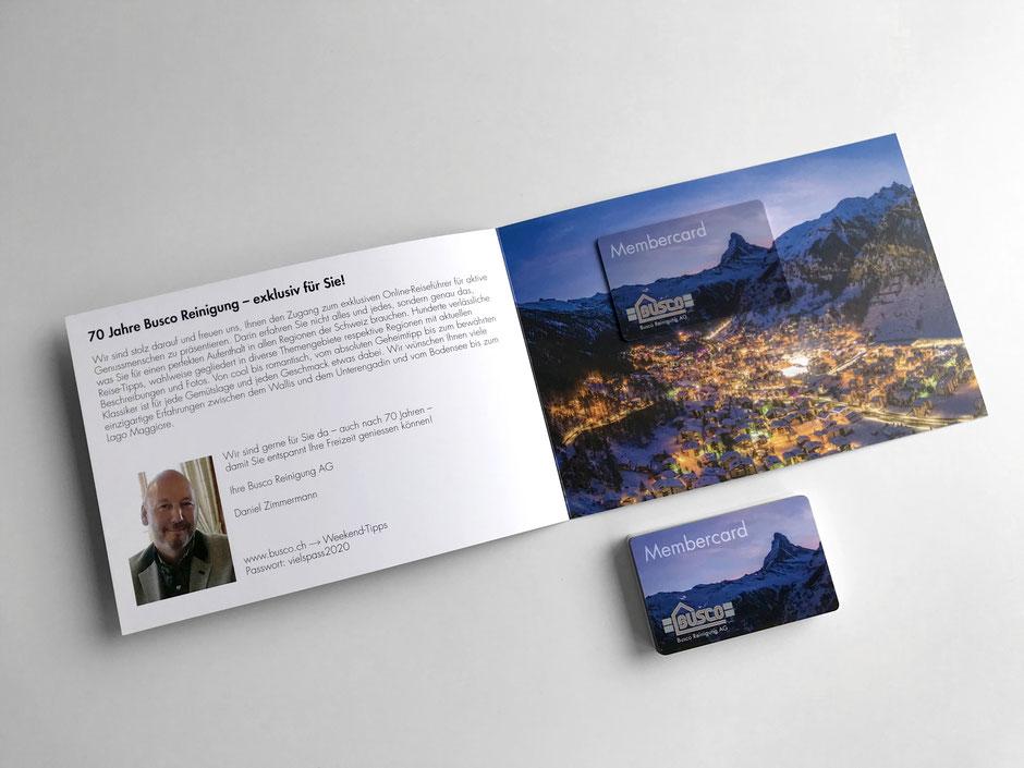 """Membercard (Beispiel Busco Reinigung AG), Membercard """"Bild-in-Bild"""" in Flyer integriert"""