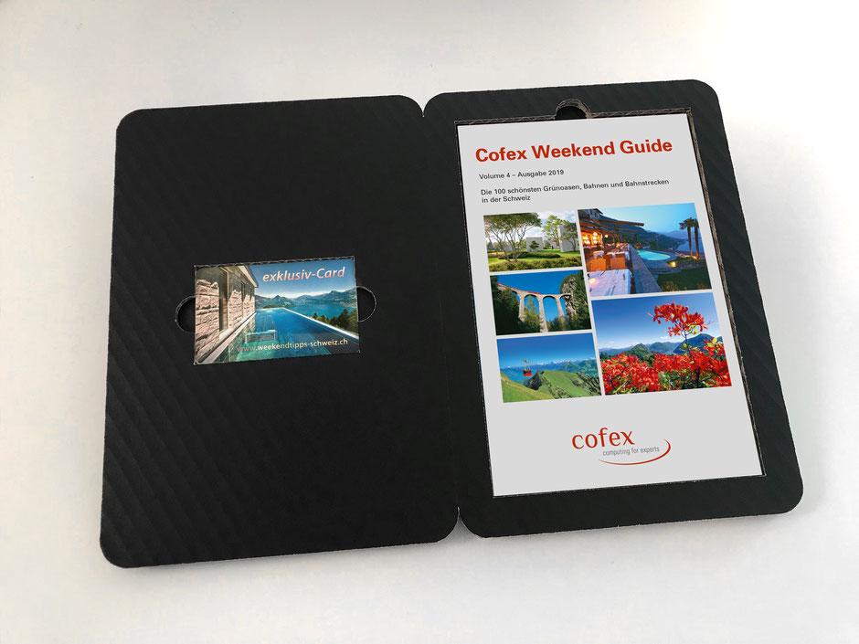 exklusiv-Card mit Weekendtipp-Doppelbooklet Cofex, Verpackung aus schwarzem Wellkarton, Die exklusiv-Card ermöglicht den Zugang zur Online-Plattform