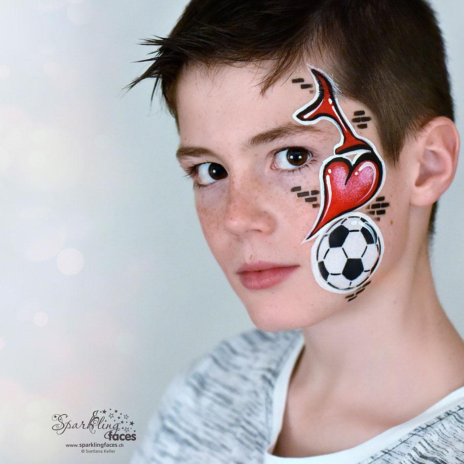 Kinderschminken_Vorlagen; Schminkfarben_kaufen_Schweiz; Kinderschminken_Kurse; Svetlana_Keller; face_painting; Ballonmodellieren; Ballonmodellage; Airbrush_Tattoos; einfach; Fussball