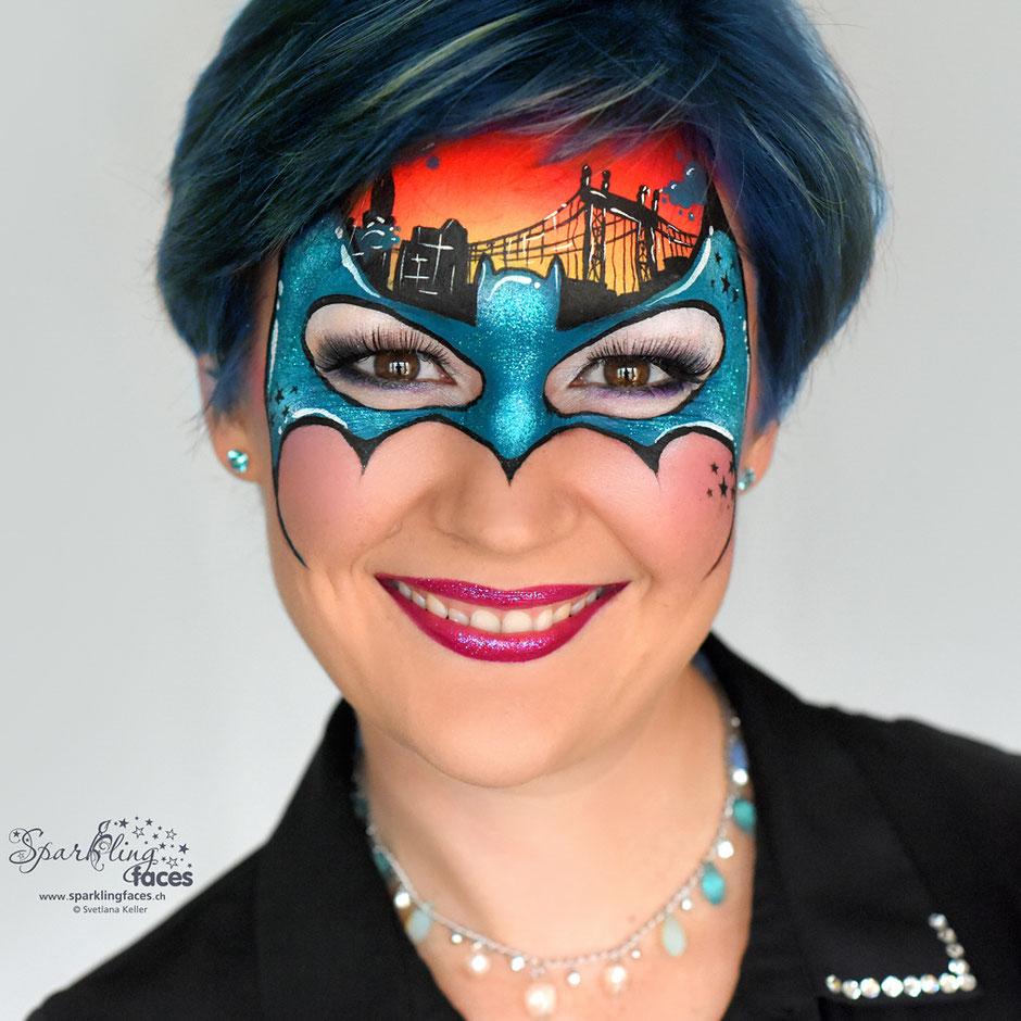 Kinderschminken_Vorlagen; Schminkfarben_kaufen_Schweiz; Kinderschminken_Kurse; Svetlana_Keller; face_painting; Ballonmodellieren; Ballonmodellage; Airbrush_Tattoos; einfach; Batman