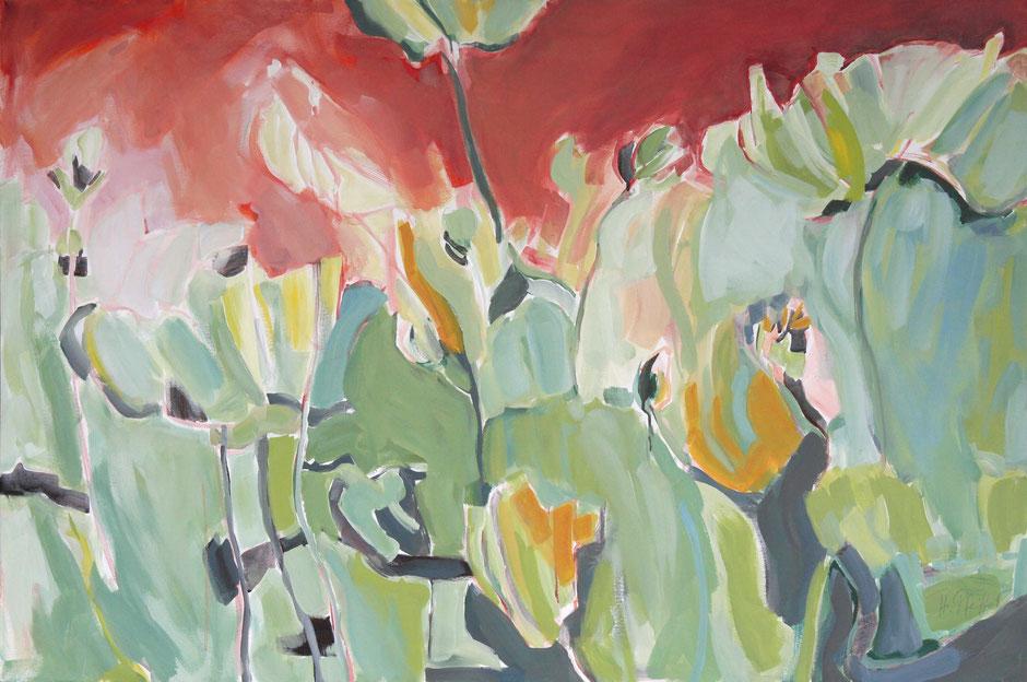 Blüten vor rotem Himmel. 160 x 110