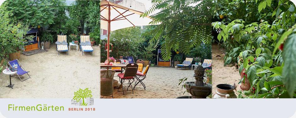 """Ansicht des hauseigenen """"ARTbeach"""" Strand der Kunstgalerie ARTprotect zum Wettbewerb Berlins schönste Firmengärten, Berlin 2018"""