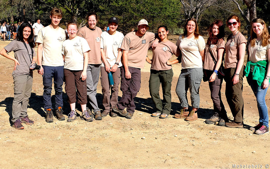 Happy volunteers at Moholoholo rehab in South Africa