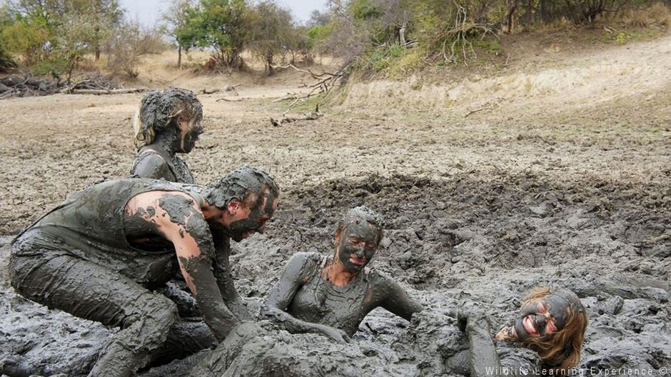 Playing in the mud in the bush, relax in South Africa